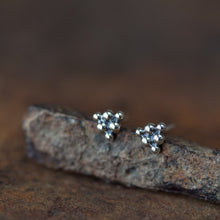 Load image into Gallery viewer, Small Triangle Stud Earrings, Sterling Silver Ball Cluster - jewelry by CookOnStrike