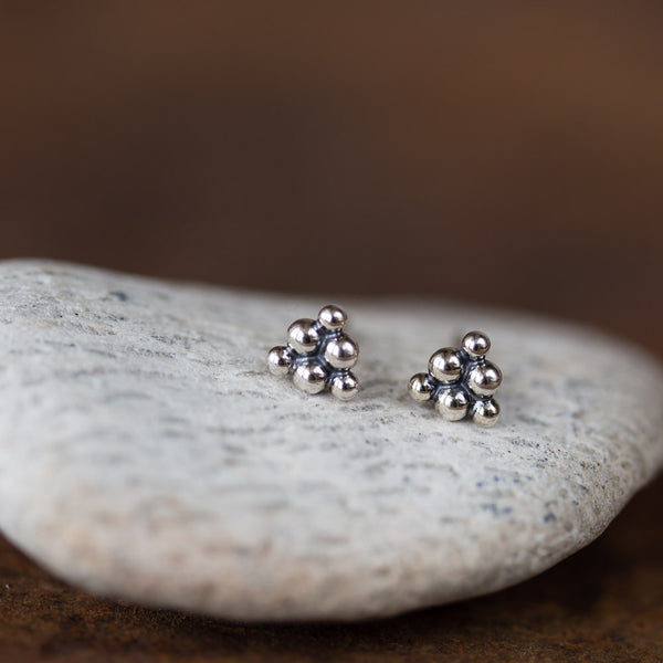 Small Triangle Stud Earrings, Sterling Silver Ball Cluster - CookOnStrike