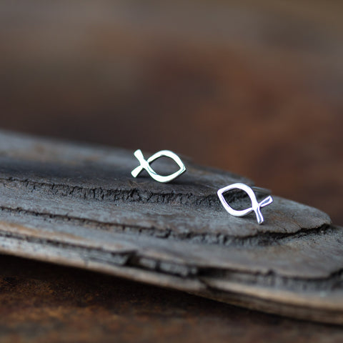Tiny Fish Stud Earrings, Ichthus Symbol - CookOnStrike