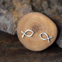 Load image into Gallery viewer, Medium Fish Outline Stud Earrings, Ichthus Symbol - jewelry by CookOnStrike