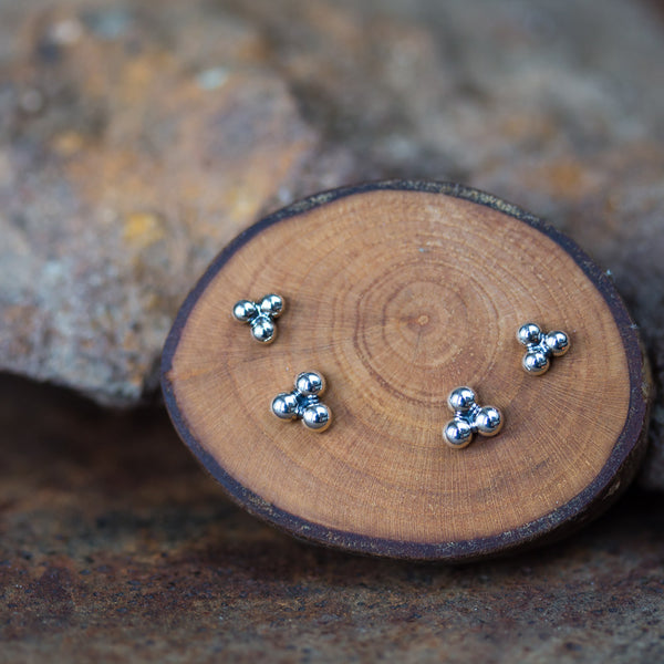 Three Dot Stud Earring Set, 4mm and 5mm - CookOnStrike