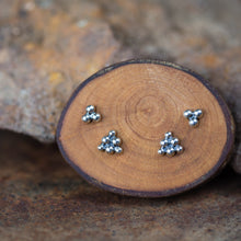 Load image into Gallery viewer, Triangle Stud Earring Set for Double Piercing, Sterling Silver - jewelry by CookOnStrike