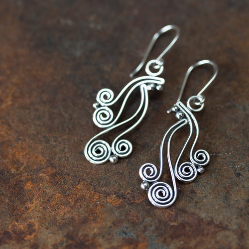 Spiral Waterfall Dangle Earrings, Sterling Silver