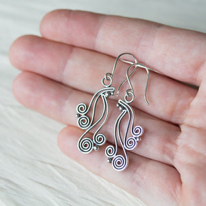 Spiral Waterfall Dangle Earrings, Sterling Silver - jewelry by CookOnStrike