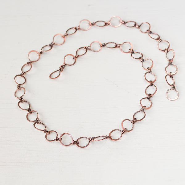 Large Hammered Wire Wrapped Copper Chain Necklace - CookOnStrike