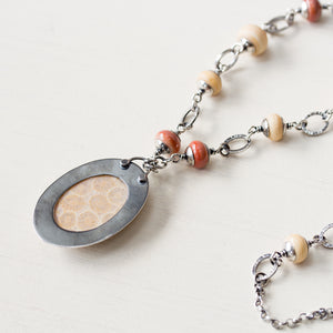 Agatized Fossil Coral Necklace, Pastel Floral Pattern Stone in Silver Bezel - jewelry by CookOnStrike
