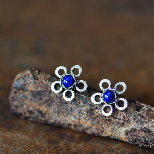 Dainty Lapis Lazuli Stud Earrings, Blue Flower - jewelry by CookOnStrike