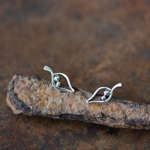 Silver Leaf Studs, Outline With Two Beads - jewelry by CookOnStrike