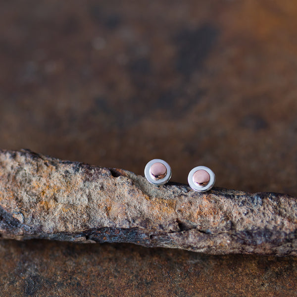 Tiny Layered Disc Stud Earrings, Copper Dot on Sterling Silver - CookOnStrike