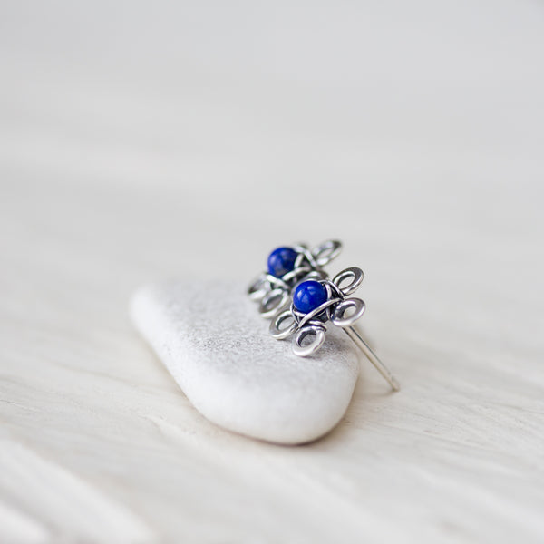 Dainty Lapis Lazuli Stud Earrings, Blue Flower - CookOnStrike