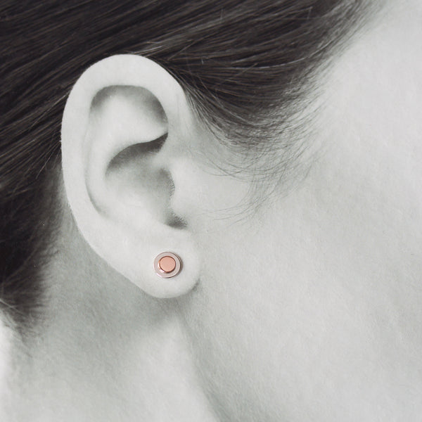 Sterling Silver and Copper Stud Earrings, Small Round Layered Disc - CookOnStrike