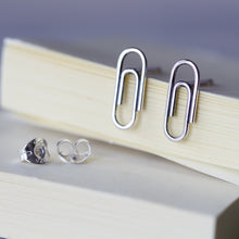 Load image into Gallery viewer, Small Silver Paperclip Earrings - jewelry by CookOnStrike