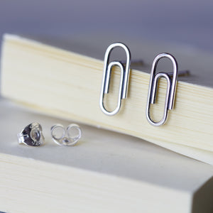 Small Silver Paperclip Earrings - jewelry by CookOnStrike