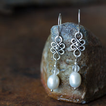Load image into Gallery viewer, White Pearl and Crystal Dangle Earrings - CookOnStrike