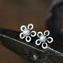 Load image into Gallery viewer, Tiny White Pearl Flower Stud Earrings - jewelry by CookOnStrike