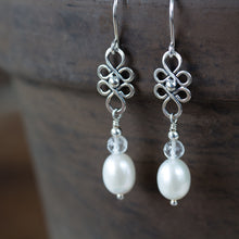 Load image into Gallery viewer, White Pearl and Crystal Dangle Earrings - jewelry by CookOnStrike