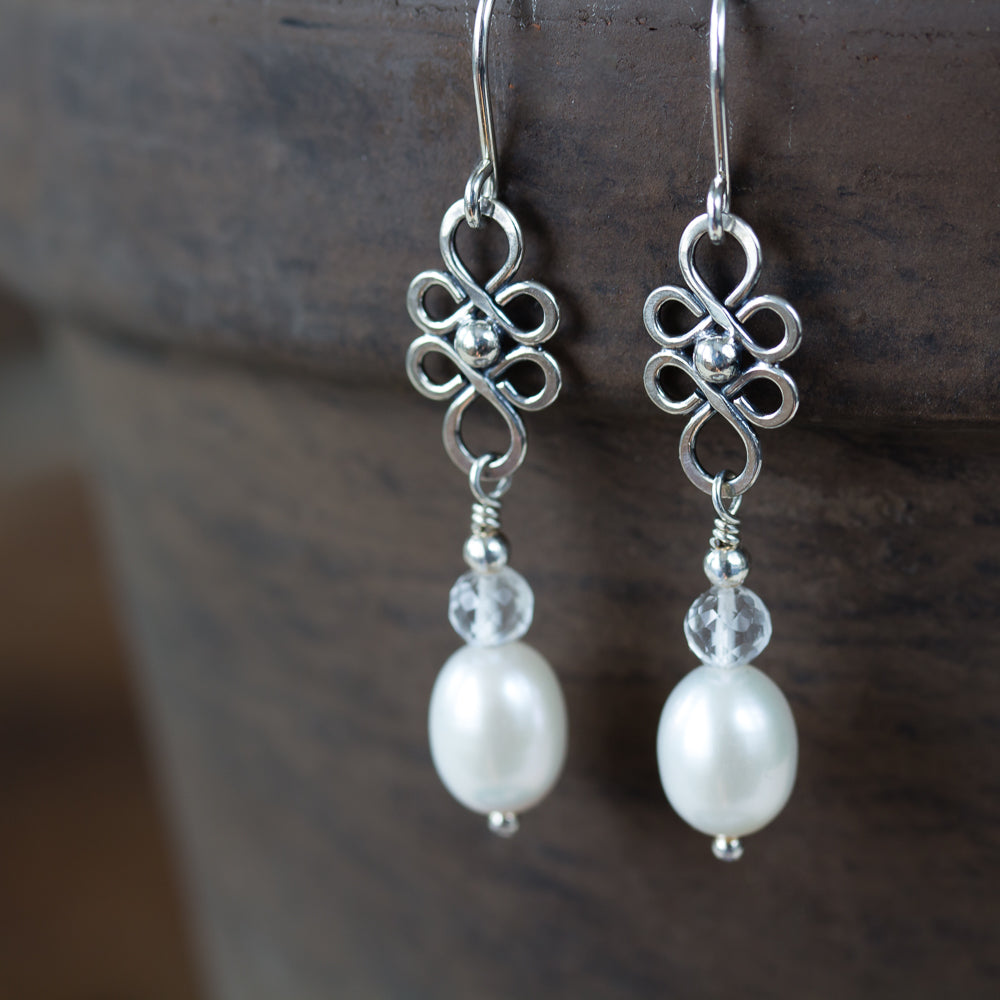 White Pearl and Crystal Dangle Earrings - jewelry by CookOnStrike