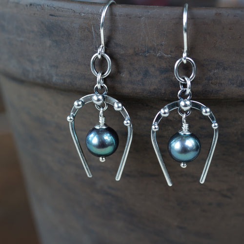 Lucky Horseshoe Earrings, oxidized sterling silver with black freshwater pearl
