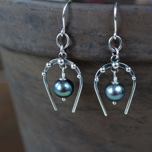 Lucky Horseshoe Earrings, oxidized sterling silver with black freshwater pearl - CookOnStrike