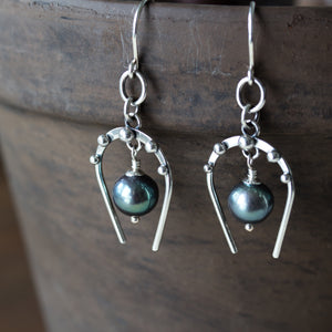 Lucky Horseshoe Earrings, oxidized sterling silver with black freshwater pearl - jewelry by CookOnStrike