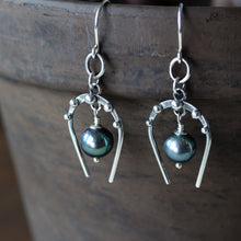 Load image into Gallery viewer, Lucky Horseshoe Earrings, oxidized sterling silver with black freshwater pearl - jewelry by CookOnStrike