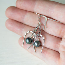 Load image into Gallery viewer, Lucky Horseshoe Earrings, oxidized sterling silver with black freshwater pearl - CookOnStrike