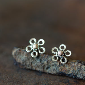 Silver and Gold Flower Studs, Two Tone Earrings - jewelry by CookOnStrike