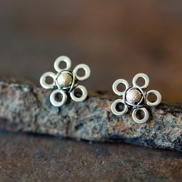 Silver and Gold Flower Studs, Two Tone Earrings - CookOnStrike