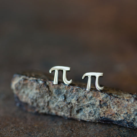 Handcrafted Greek Letter Pi Stud Earrings, Sterling Silver - CookOnStrike