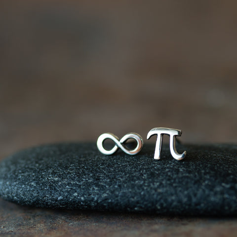 Mismatched Stud Earring Set, Tiny Greek Alphabet Letter Pi and Infinity Symbol - CookOnStrike