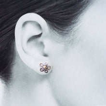Load image into Gallery viewer, Silver and Gold Flower Studs, Two Tone Earrings - jewelry by CookOnStrike