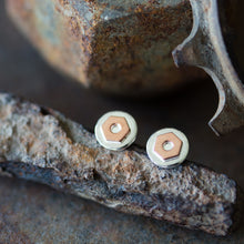 Load image into Gallery viewer, 6.5mm Hex Nut Stud Earrings, Sterling Silver and Copper - CookOnStrike