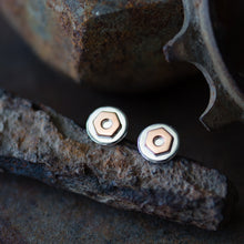 Load image into Gallery viewer, 6.5mm Hex Nut Stud Earrings, Sterling Silver and Copper - jewelry by CookOnStrike