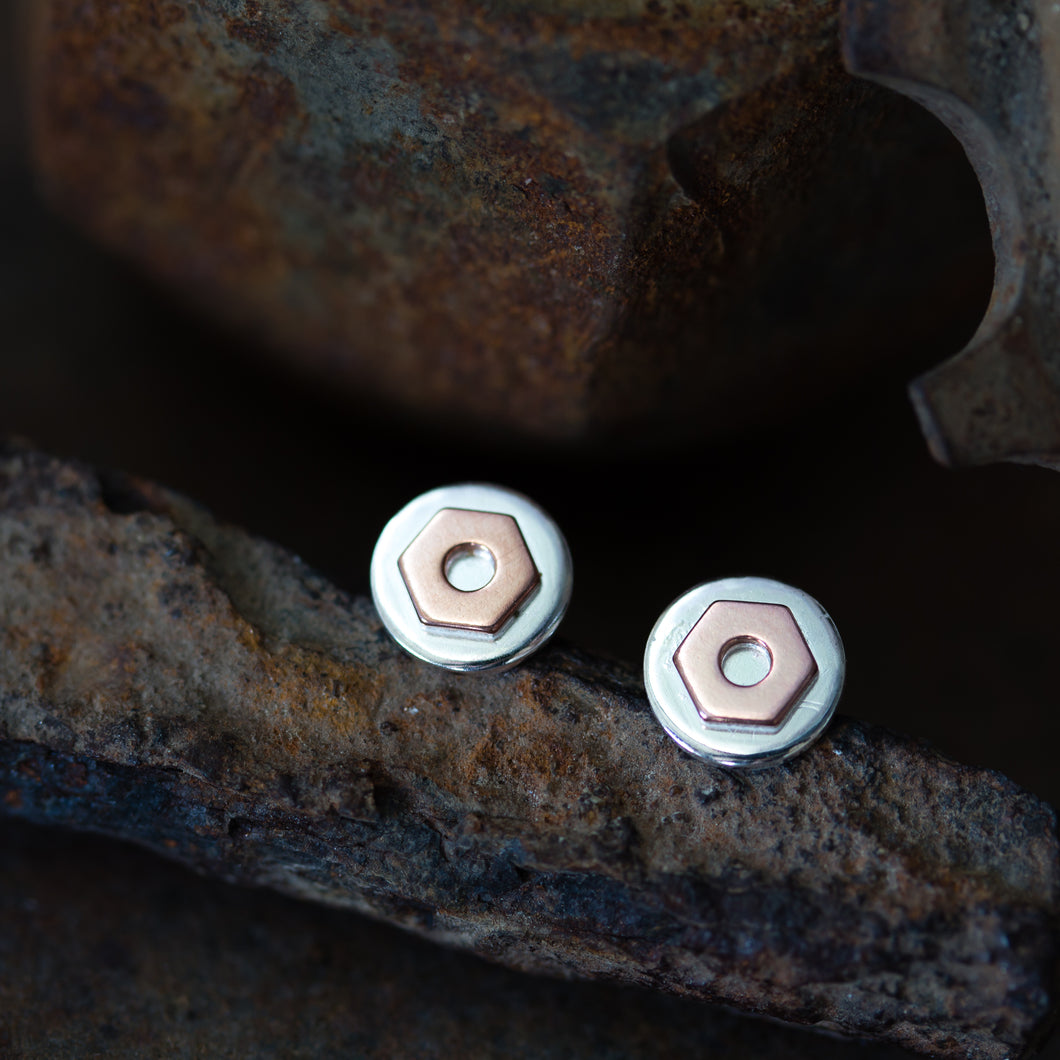 6.5mm Hex Nut Stud Earrings, Sterling Silver and Copper - jewelry by CookOnStrike