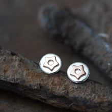 Load image into Gallery viewer, Copper Star Stud Earrings, Sterling Silver with Copper Accent - jewelry by CookOnStrike