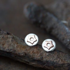 Copper Star Stud Earrings, Sterling Silver with Copper Accent - jewelry by CookOnStrike