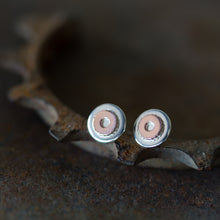 Load image into Gallery viewer, Small Gear Stud Earrings, Sterling Silver and Copper - jewelry by CookOnStrike