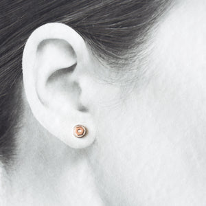 6.5mm Hex Nut Stud Earrings, Sterling Silver and Copper - CookOnStrike