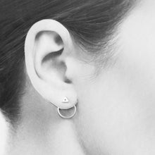 Load image into Gallery viewer, Minimalist Silver Circle Ear Jackets - jewelry by CookOnStrike