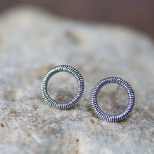 Load image into Gallery viewer, Small Coiled Circle Stud Earrings, Sterling Silver - jewelry by CookOnStrike