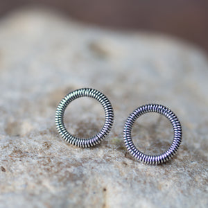 Small Coiled Circle Stud Earrings, Sterling Silver - jewelry by CookOnStrike