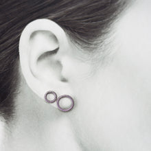 Load image into Gallery viewer, Wire Wrapped Circle Studs For Double Piercing, Sterling Silver - jewelry by CookOnStrike