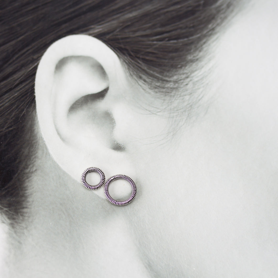 Wire Wrapped Circle Studs For Double Piercing, Sterling Silver - jewelry by CookOnStrike