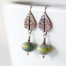 Load image into Gallery viewer, Pastel Green Earrings, hammered copper leaf with lampwork beads - jewelry by CookOnStrike
