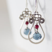 Load image into Gallery viewer, Blue and Red Gemstone Leverback Earrings, 925 sterling silver