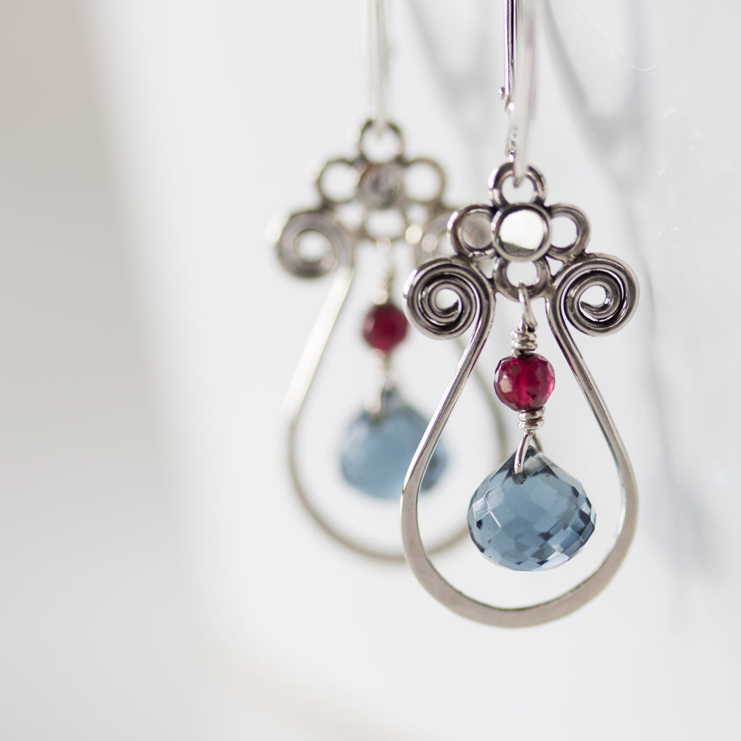 Blue and Red Gemstone Leverback Earrings, 925 sterling silver