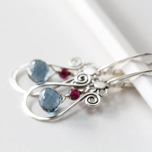 Load image into Gallery viewer, Blue and Red Gemstone Leverback Earrings, 925 sterling silver - jewelry by CookOnStrike