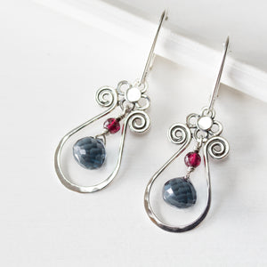 Blue and Red Gemstone Leverback Earrings, 925 sterling silver - jewelry by CookOnStrike