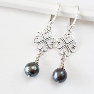 Elegant Four Leaf Clover Earrings with Black Pearl Drop - CookOnStrike