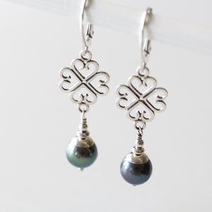 Elegant Four Leaf Clover Earrings with Black Pearl Drop